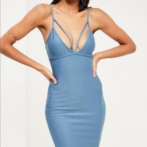 Missguided Blue Strappy Scuba Bodycon Dress